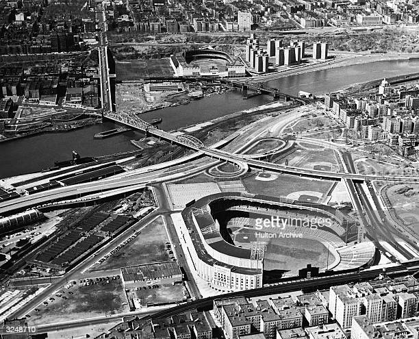 Aerial view of Yankee Stadium and Polo Grounds New York City