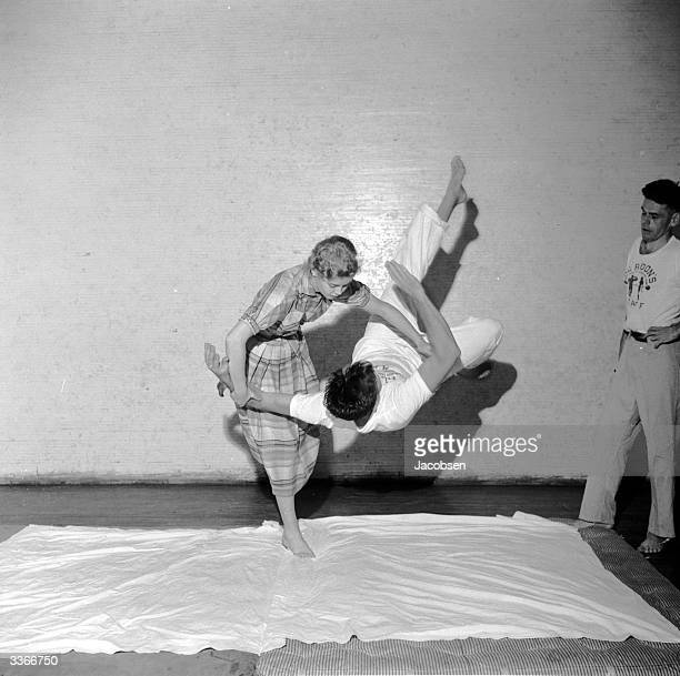 After just two judo lessons Olivia Connery grabs a wouldbe attacker by the wrist and arm and throws him to the floor