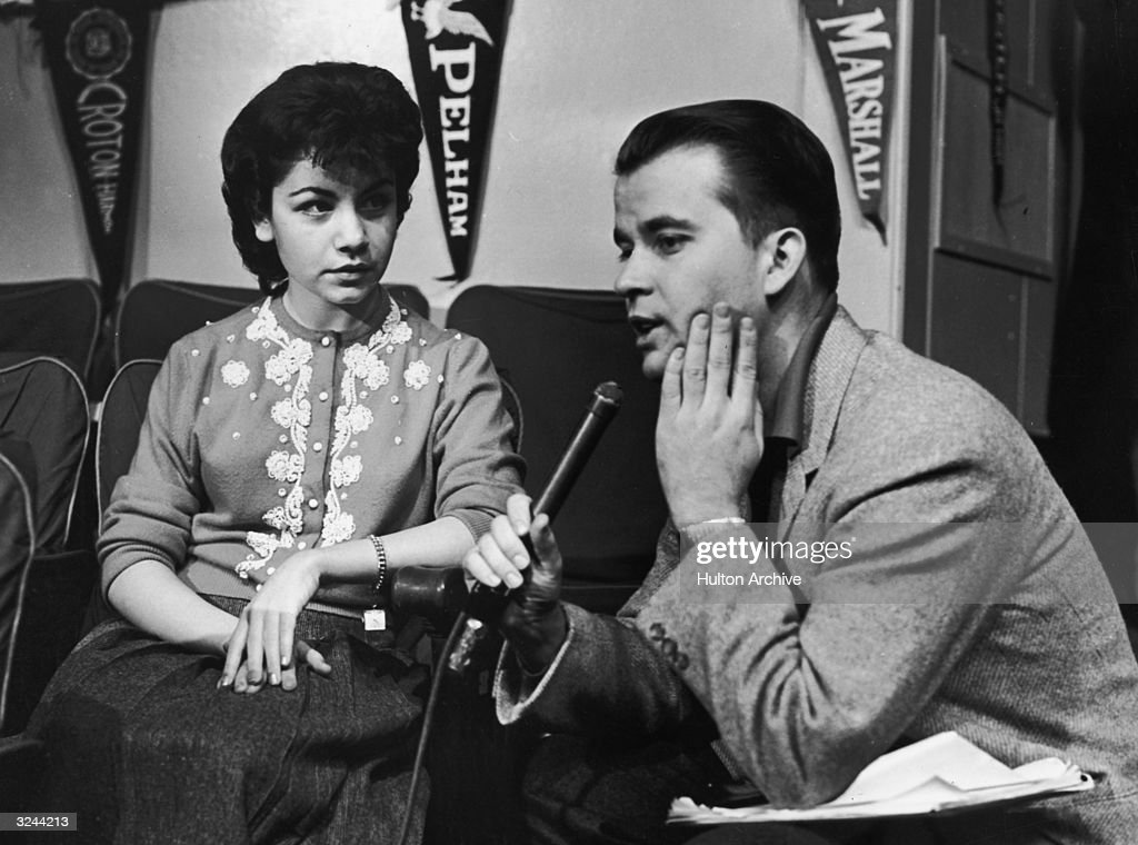 American television personality and producer Dick Clark interviewing American singer and actor Annette Funicello during an episode of the television...