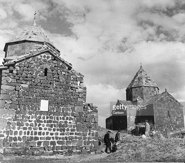 Ancient churches on the island of Sevan on Lake Sevan in Soviet Armenia