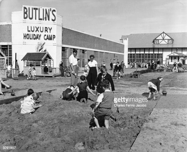 Children playing in the sandpit at a Butlin's holiday camp