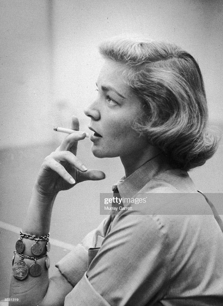 EXCLUSIVE American actress Lauren Bacall smoking a cigarette during a rehearsal break possibly for a TV project Hollywood California