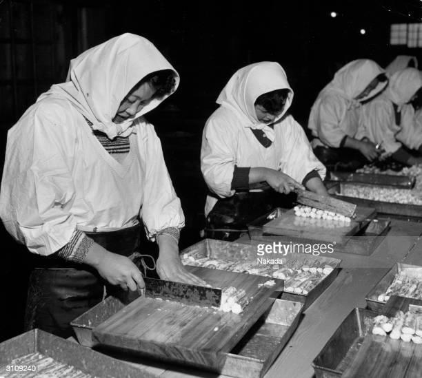Japanese factory workers cutting makizushi rolls of sushi rice in nori seaweed