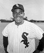 Circa 1955 Portrait of Cubanborn Chicago White Sox baseball player Orestes 'Minnie' Minoso in team uniform