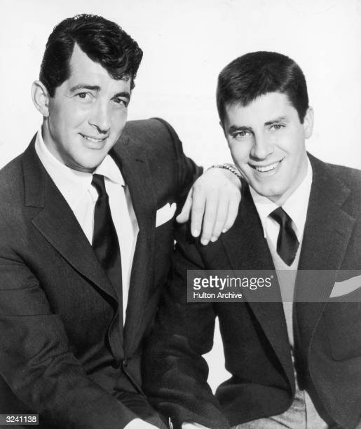 Promotional portrait of American comic team Dean Martin and Jerry Lewis smiling