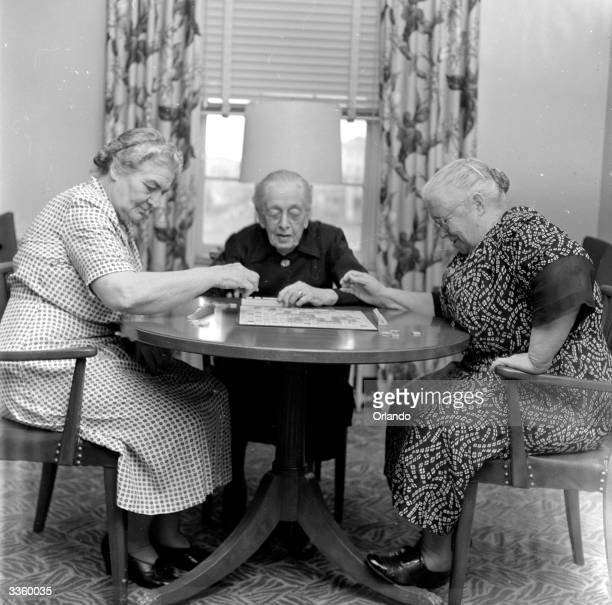 Residents at the Retired Officers' Residence in Asbury Park New Jersey enjoying a game of scrabble