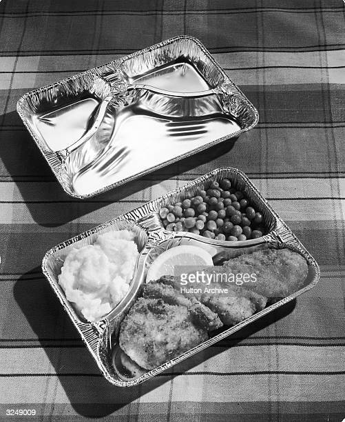 Stilllife of a threehold aluminum tray 'TV dinner'