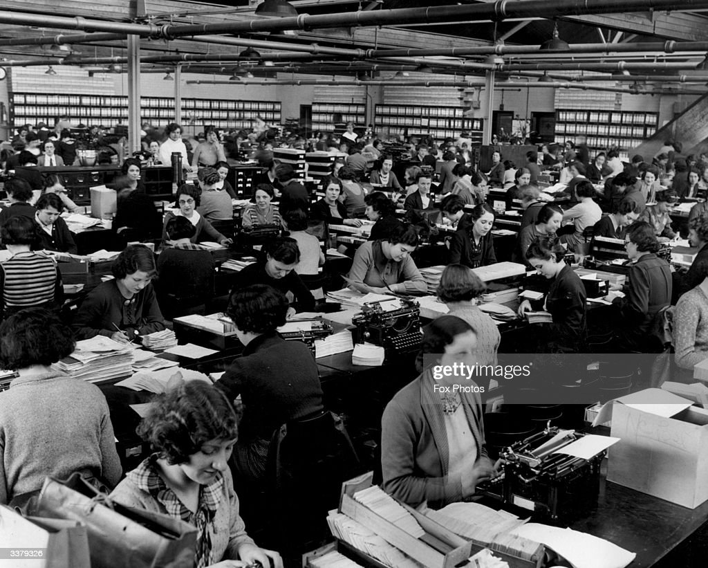 The busy office at Vernon's Football Pools Limited in Aintree, Liverpool.