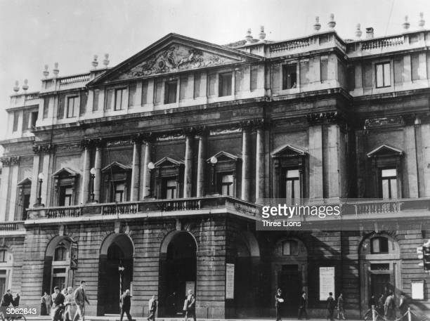 The facade of La Scala Milan's most famous opera house