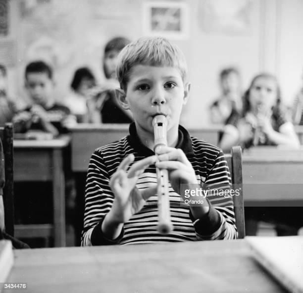 Third grade pupils at the Steiner School learning to play the recorder