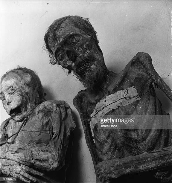 Twentieth century mummies on display in the vault of the Panteon cemetery at Guanajuato on the summit of Cerro del Trozado Mexico