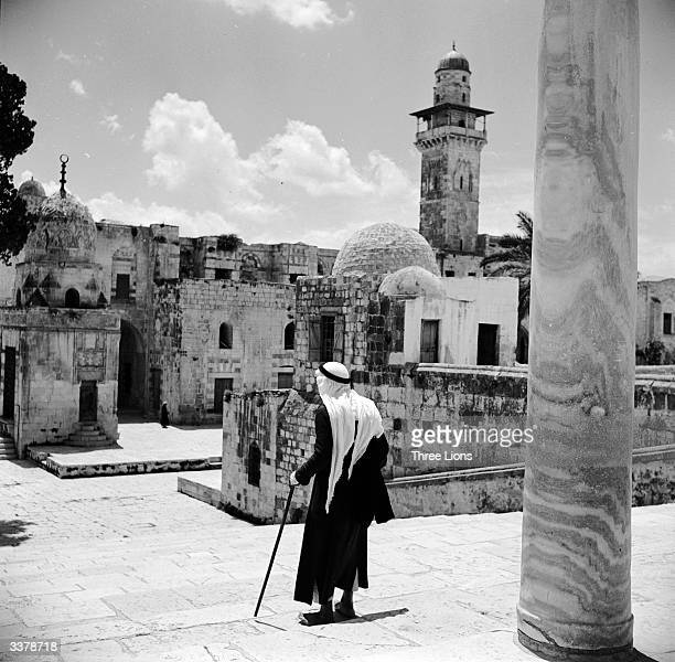 View from the south stairs of the Omar Mosque the Dome of the Rock Jerusalem a domed shrine that stands on the site of the Temple of Solomon Muhammad...