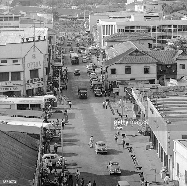 A busy street in the business district of Accra capital of Ghana