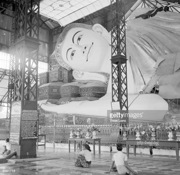 A large recumbent figure of Buddha at Pego Burma
