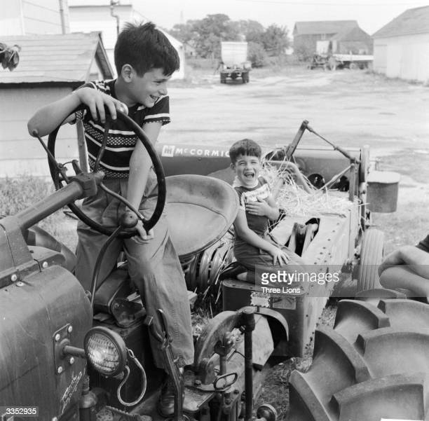 City children imagine the farming life whilst holidaying on a Long Island farm