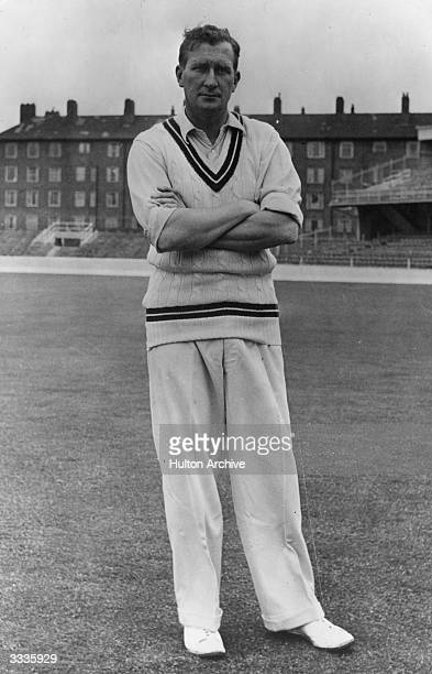 English bowler Jim Laker who took 46 wickets in the 1956 Test series against Ausrtralia