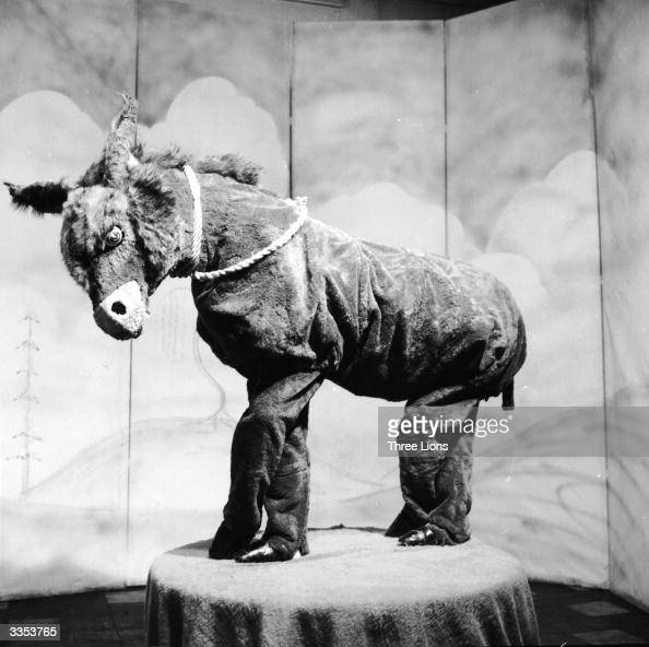 Myra Wease in a donkey costume built for one