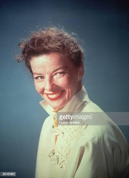 A studio portrait of American actress Katharine Hepburn