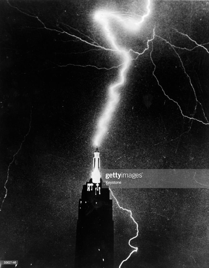 Lightning striking the Empire State Building, New York, during a storm.