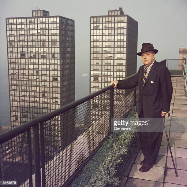 German born American architect Mies Van Der Rohe on the rooftop of a skyscraper in Chicago