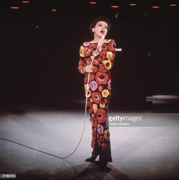 Singer and film star Judy Garland on stage