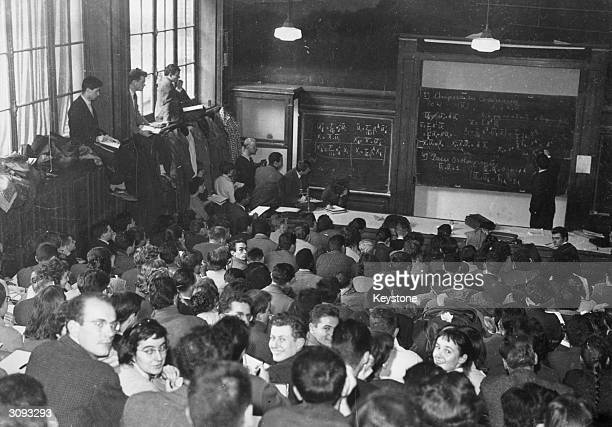 Students attending a lecture at the Sorbonne in Paris