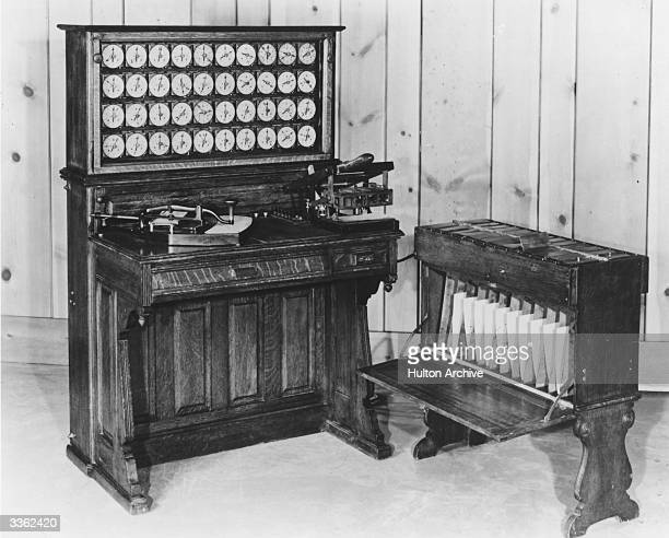 The Hollerith tabulator and sorter box invented by Herman Hollerith and used in the 1890 United States census It 'read' cards by passing them through...