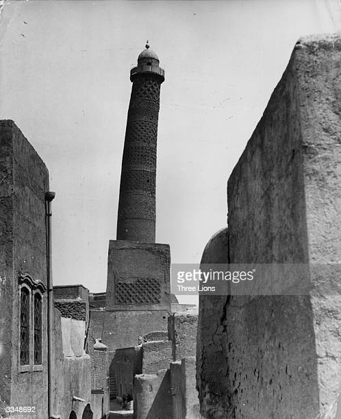 The minaret of the Jami Kibura mosque at Mosul northern Iraq which is 210 feet high and leans at a greater angle than the famed leaning tower at Pisa