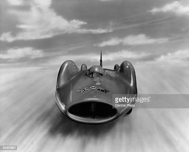 Sir Donald Campbell's car 'Bluebird' which will attempt the world's land speed record on the salt flats at Lake Eyre Southern Australia in the spring...