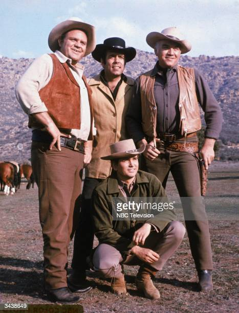 The cast of the television program 'Bonanza' Clockwise from left Dan Blocker Pernell Roberts Lorne Greene and Michael Landon