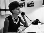 Television journalist for NBC Barbara Walters takes a phone call at her desk New York City