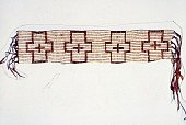 A closeup of a belt made in around 1785 from woven wampum tiny beads used as currency by the Native Americans
