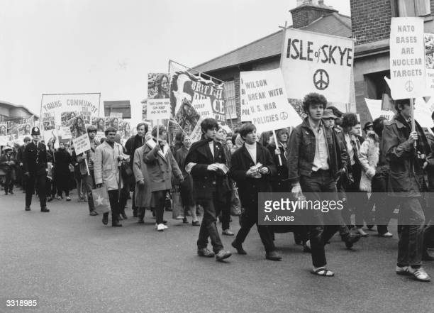 A CND march in Aldermaston England protesting against the Atomic Weapons Research Establishment situated in the town The demonstrators are also...