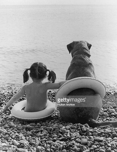 A little girl sits on a pebbled beach with her arm around a big dog their backs to the camera undated Both are wearing children's life preservers