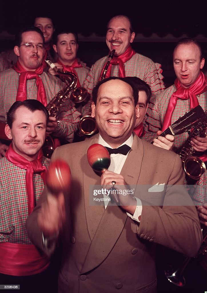 American drummer and dance band founder Edmundo Ros with his Latin American Ballroom Orchestra.