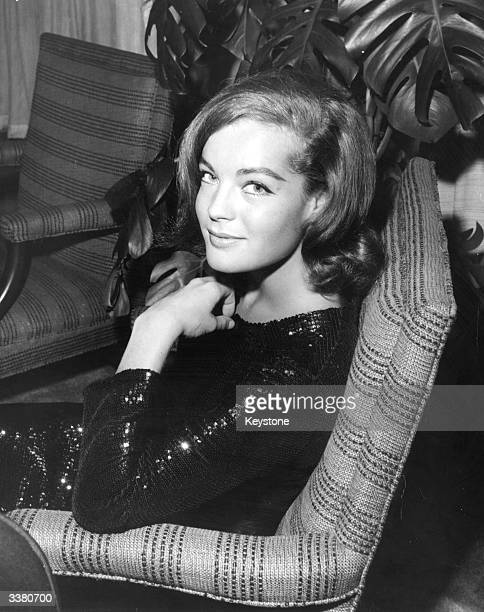 Austrian film actress Romy Schneider at a cocktail party held for her at the Beverly Hills Hotel hosted by Columbia Studio head Sol Schwartz