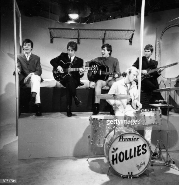 British pop group The Hollies performing in a television studio The Hollies are Allan Clarke Bobby Elliot Graham Nash Tony Hicks and Eric Haydock