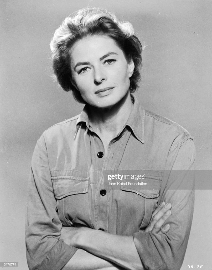 Film star <a gi-track='captionPersonalityLinkClicked' href=/galleries/search?phrase=Ingrid+Bergman&family=editorial&specificpeople=70003 ng-click='$event.stopPropagation()'>Ingrid Bergman</a> (1915 - 1982) in a simple denim shirt with rolled up sleeves.
