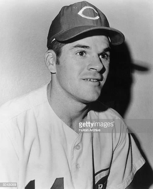 Headshot of American baseball player Pete Rose in uniform for the Cincinnati Reds