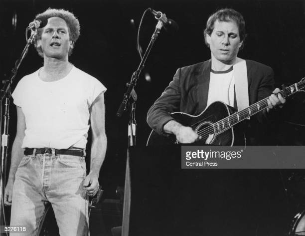 Folk pop duo Art Garfunkel and Paul Simon playing in front of more than 50000 people in Madrid at the start of their European tour