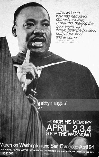 A poster for an antiwar march bearing a picture of civil rights leader Martin Luther King and a quotation from one of his speeches that 'this widened...