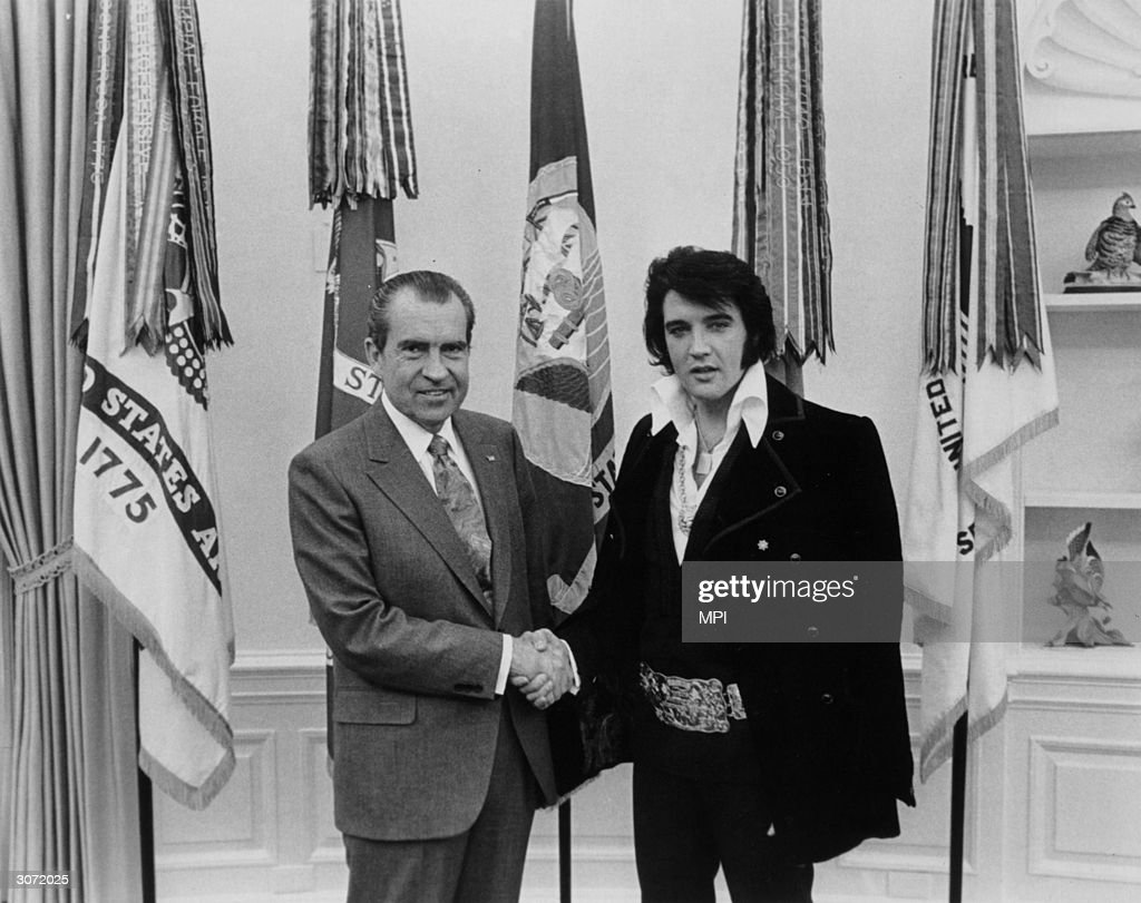 American singer and actor Elvis Aron Presley (1935 - 1977) meets 37th president of the United States Richard Milhous Nixon (1913 - 1994).