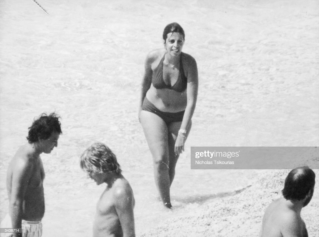 Christina Onassis (1950 - 1988), daughter of Greek shipping tycoon Aristotle Onassis, on Skorpios, an Ionian island owned by the Onassis family.