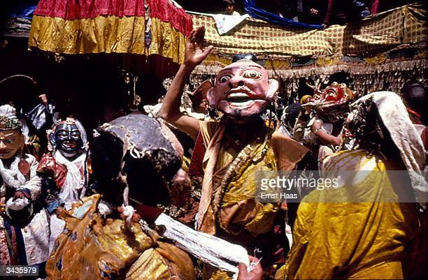 Masked lama dancers performing at the annual Hemis Tsichu where scenes from the life of Guru Padmasambhava are enacted in the remote district of...