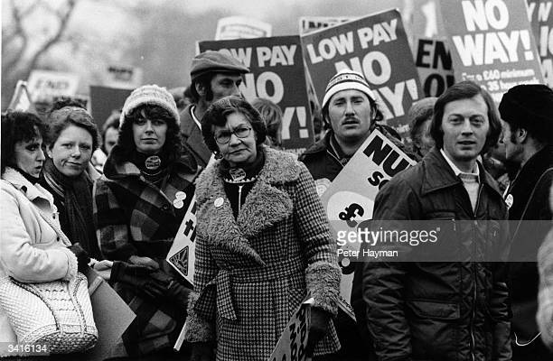 Public service employees marching for more pay in Hyde Park London during the strike by NUPE members including Peter Hagman