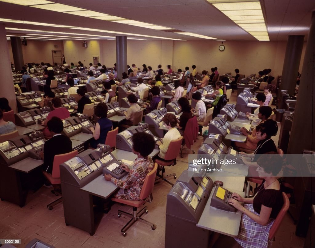 Women at work in the book-keeping room at the Bank of America, Los Angeles.