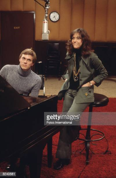 American musicians Richard and Karen Carpenter the brother and sister pop duo The Carpenters in a recording studio