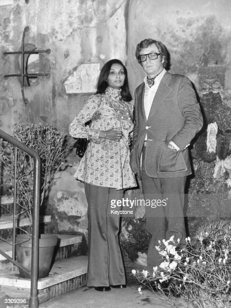 British actor Michael Caine with his pregnant wife Shakira