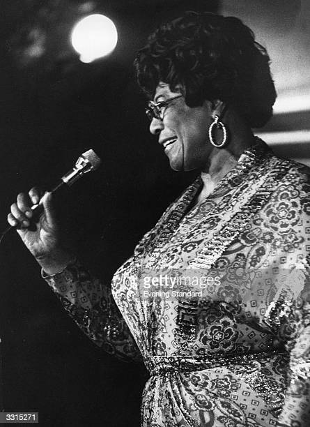 American jazz scat singer Ella Fitzgerald performing at Ronnie Scott's club in London