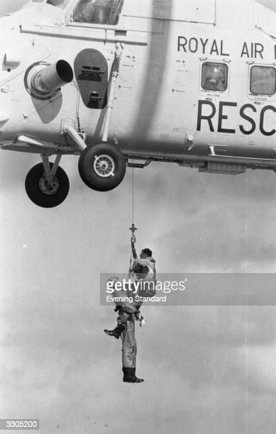 A Royal Air Force team during an airlift rescue operation using a Westland Wessex MK II